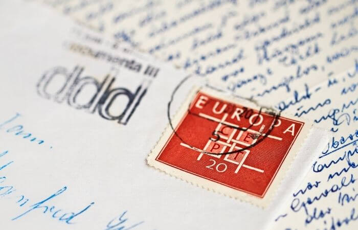 the stamp goes on the top right corner of a letter