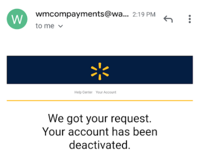 walmart account deletion confirmation email